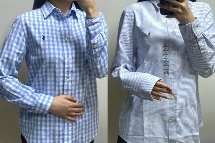 폴로 직구 보이즈 옥스퍼드 셔츠 라이트 블루 스트라이프 XL 사이즈/ L사이즈 비교/ 착샷