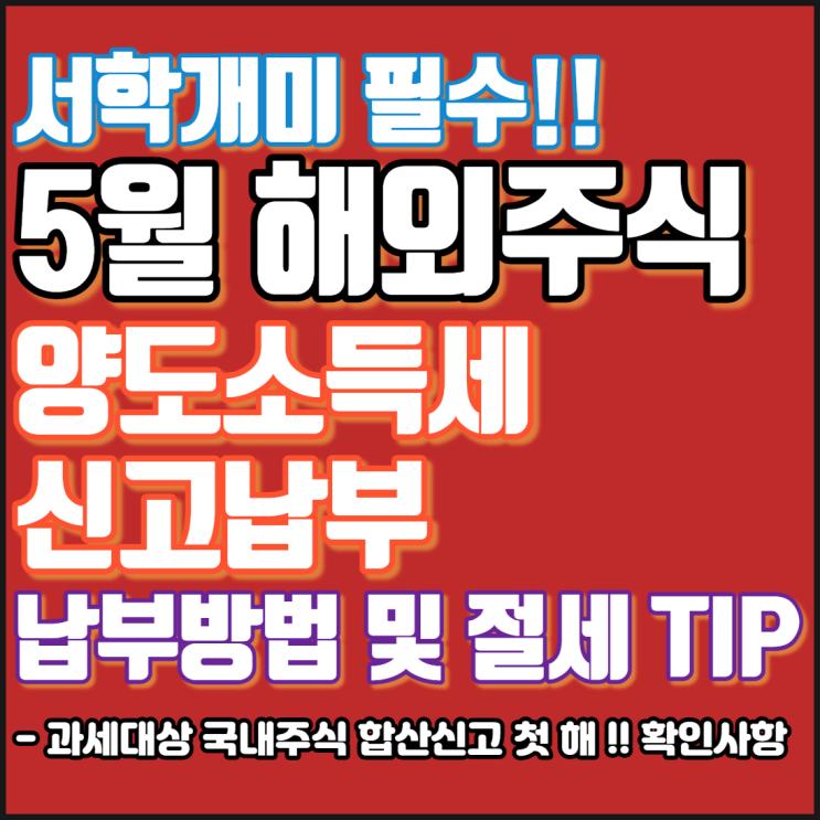 5월 해외주식 양도소득세 신고납부 기간[납부방법 및 절세 TIP]