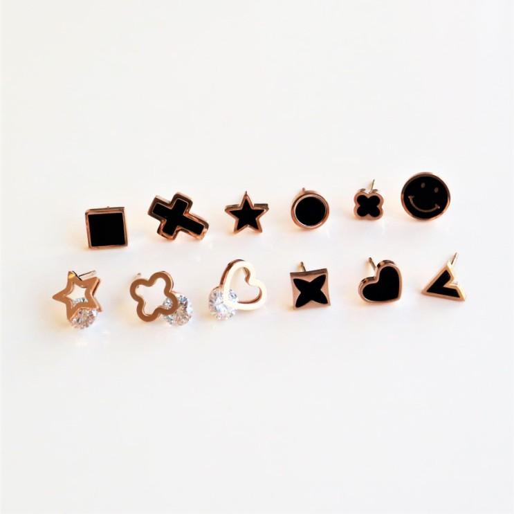 잘나가는 투애니원 [무료배송]전체 티타늄 12가지 스터드 데일리귀걸이 귀걸이>>여성패션귀걸이 추천해요