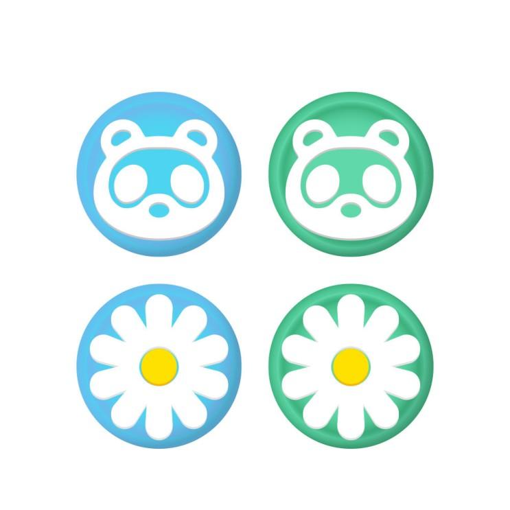 가성비갑 호후 닌텐도 스위치 / 스위치 라이트 실리콘 조이스틱 커버 동물의숲너구리꽃, 4개 좋아요