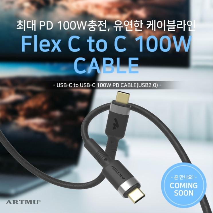 [출시예정]플렉스 USB PD C타입 to C 100W고속충전케이블
