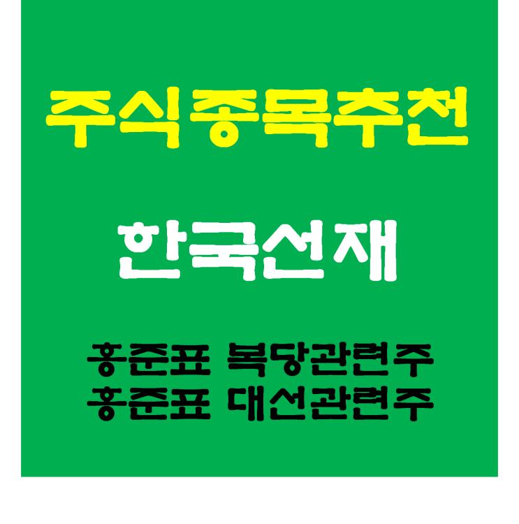 [종목추천]한국선재 주가와 목표가 전망, 홍준표관련주, 홍준표 복당관련주, 홍준표대선주