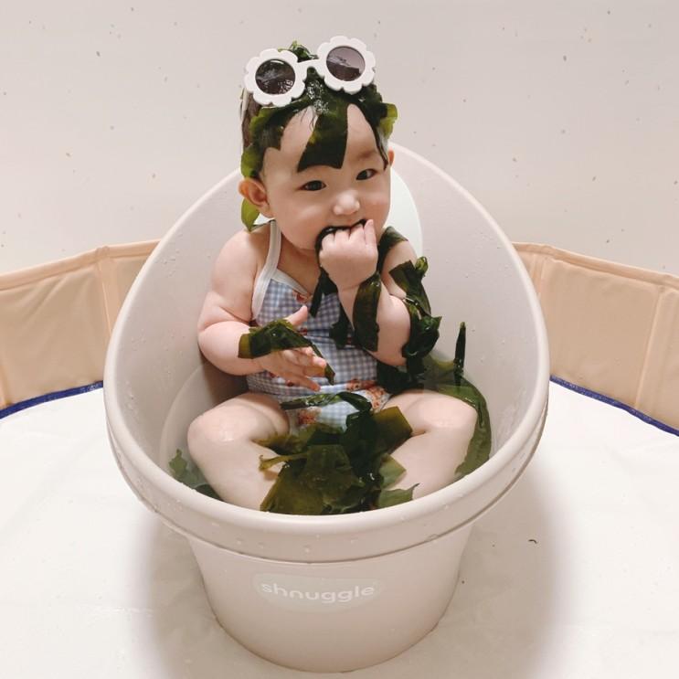 7개월 아기, 미역촉감놀이 구강기 미역먹방