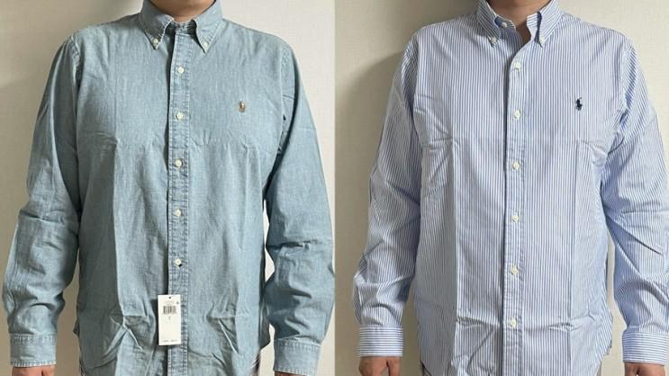 [메이시스] 폴로 직구 남자 클래식핏 셔츠(청남방/스트라이프) L 사이즈 리뷰/ 착샷/Chambray/Blue White