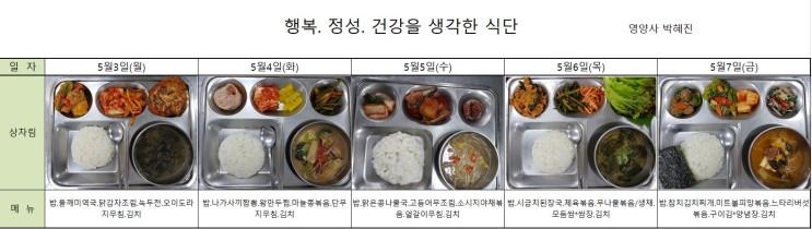 [경기도 양평 요양원][마리아의집]5월 1주 식단사진입니다