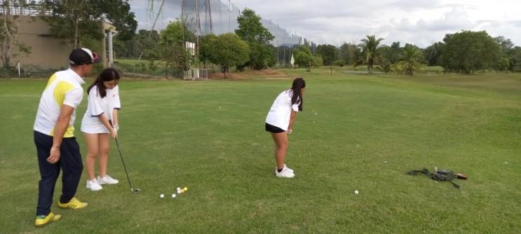 코타키나발루 아이 학생 골프 필드 레슨