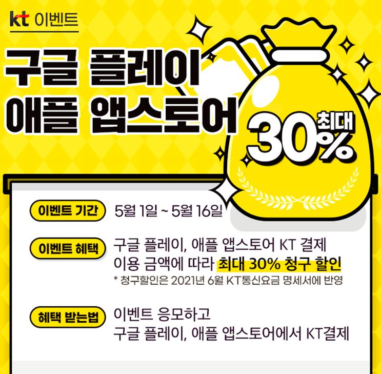 KT로 구글플레이/애플 앱스토어 만원 이상 결제 시, 만원 청구할인!
