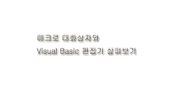 매크로 대화상자, Visual Basic 편집기 살피기
