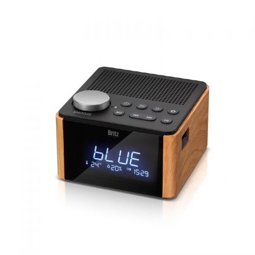 구매평 좋은 브리츠 Britz BA-CL1 레트로 알람 시계 온도습도측정 라디오 블루투스 스피커 ···