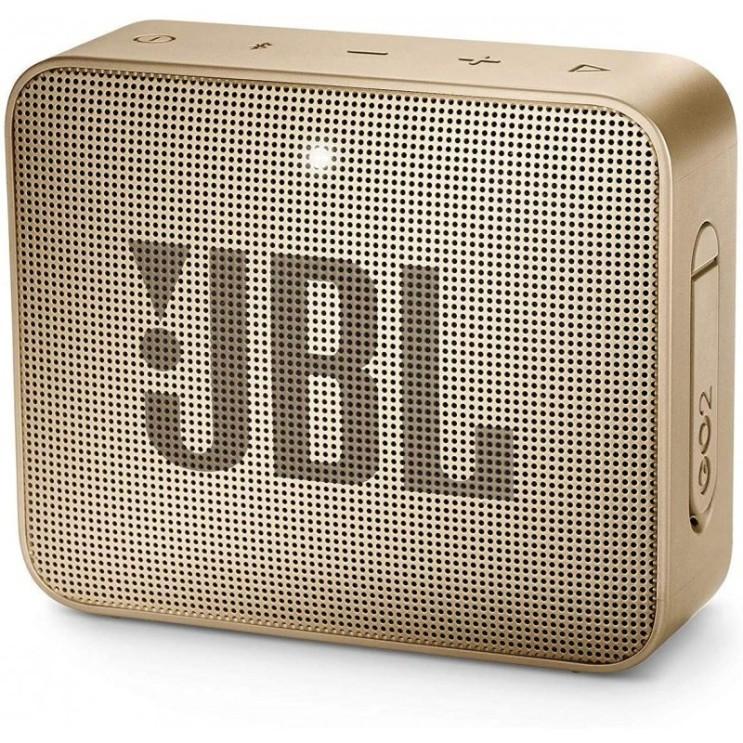 잘나가는 JBL GO 2 소형 뮤직 박스 - 핸즈프리 기능을 갖춘 방수 휴대용 블루투스 스피커 - 배터리 충전 샴페인 1 추천합니다