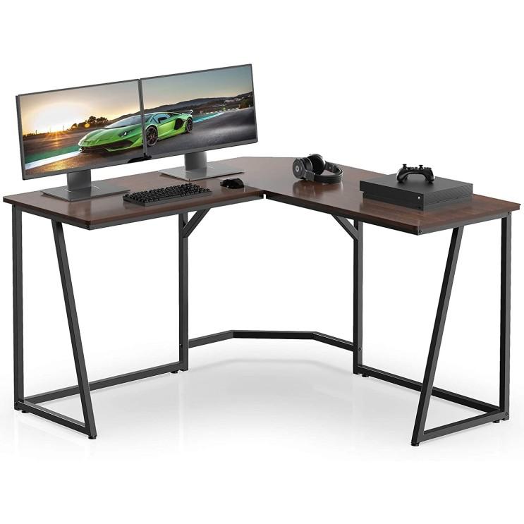 선호도 높은 [국내 배송+경품 증정] FITUEYES L형책상 ㄱ자책상 컴퓨터책상 테이블 학생데스크, 호두LCD112501WB 좋아요
