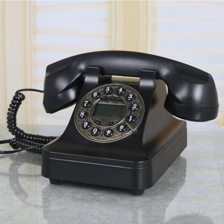 핵가성비 좋은 유무선전화기 택배 회전 전화기 유럽식 거실 빈티지 고정 소품, T02-플러그-블랙색-버튼 일반형 좋아요
