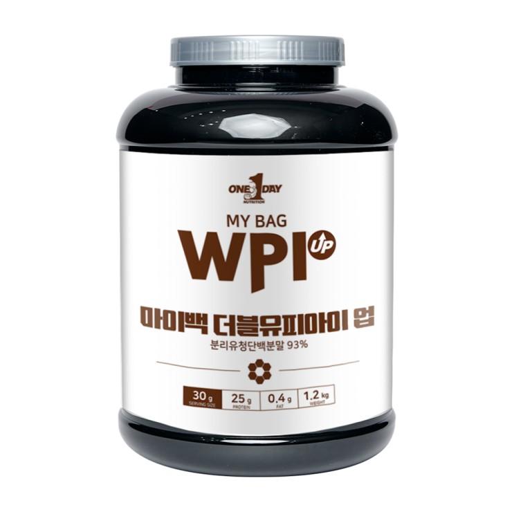 요즘 인기있는 원데이뉴트리션 초코맛_단백질 쉐이크 헬스 보충제 분리 유청 웨이프로틴 WPI UP 용기 1200g, 1개 추천해요