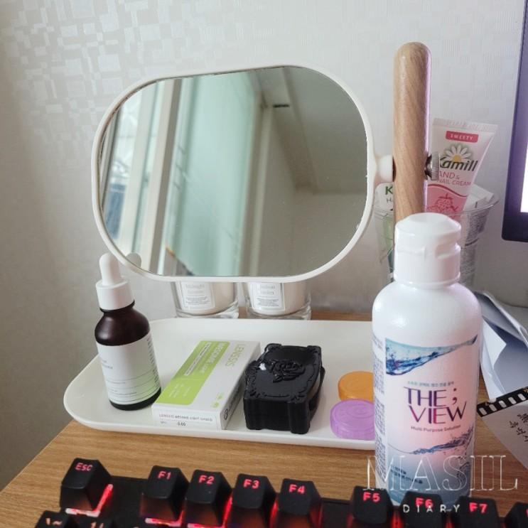 어? 예쁘다 우드 화이트 트레이 탁상 거울