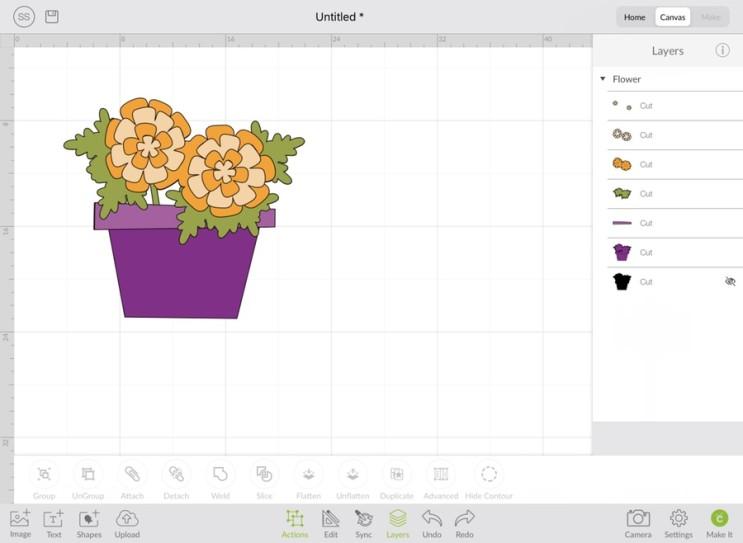 크리컷_[10] Cricut Design space (디자인스페이스) 아이패드에서 실행하기 - Canvas(2) Layer, 색, Sync의 의미