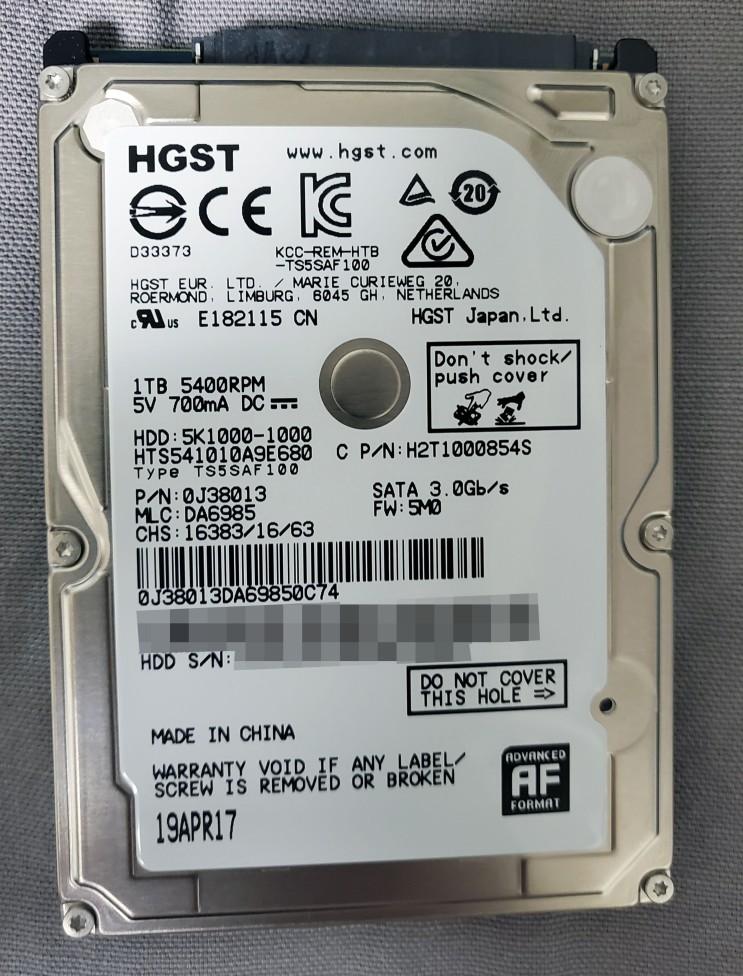 [HDD] HGST Travelstar 5K1000 1TB (PS4 OEM)