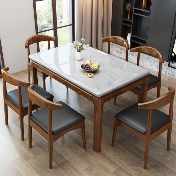 선호도 좋은 원목 심플 의자 세트 4인 6인 대리석 식탁, A.1.3m통나무싱글테이블 추천해요