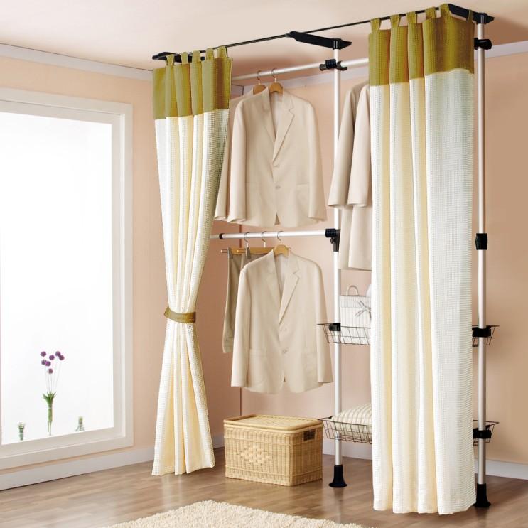 최근 많이 팔린 가화홈시스 알루미늄 3단 바구니수납 드레스룸 더블커튼 행거 SLBAL3302SDC, 기둥(실버) + 부품(검정) + 커튼(브라운) ···