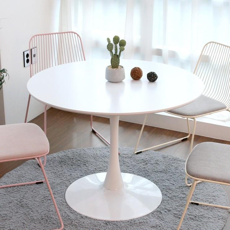 구매평 좋은 지엠퍼니처 플로윙 화이트 원형 식탁 테이블 1000 (4인용), 플로윙 1000 화이트+화이트 DIY 좋아요