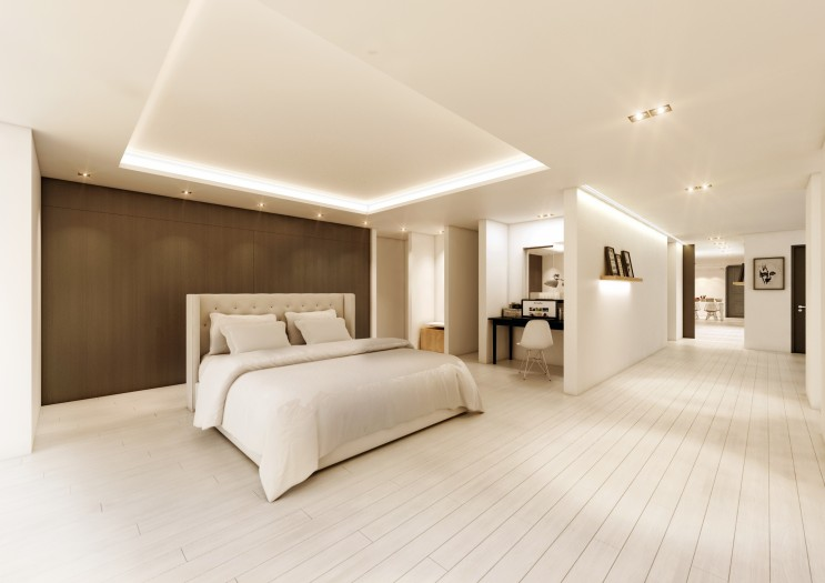 화이트 배경에 우드 패널 포인트 벽으로 포근한 분위기를 연출한 침실 내부투시도