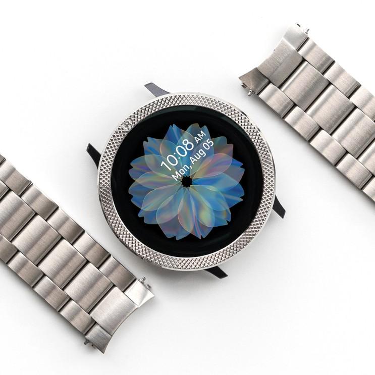 가성비 좋은 링케 갤럭시 액티브2 워치 메탈원 시계줄 메탈 밴드 40mm, 1세트, 실버 ···