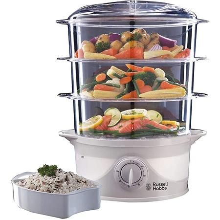 의외로 인기있는 및 적격 주문에 대한 반품. Russell Hobbs 21140 3-Tier Food Steamer 800 W 9 Litre White, One Color_Whit