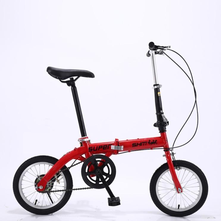 가성비 뛰어난 미니벨로 14인치 접이식 초경량 자전거, 14인치 저속 레드 단속 ···