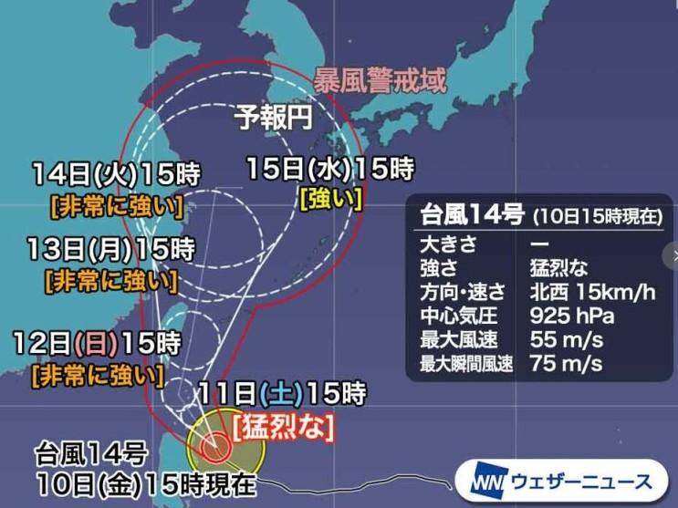 14호 태풍 찬투 경로, 한반도에 영향이 있을까?