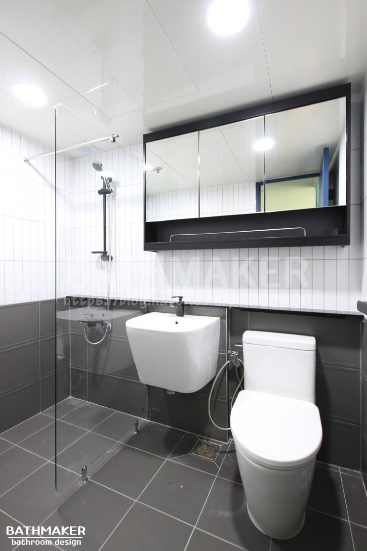 웨인스코팅타일을 시공한 장안동 우성에비뉴 욕실리모델링사진