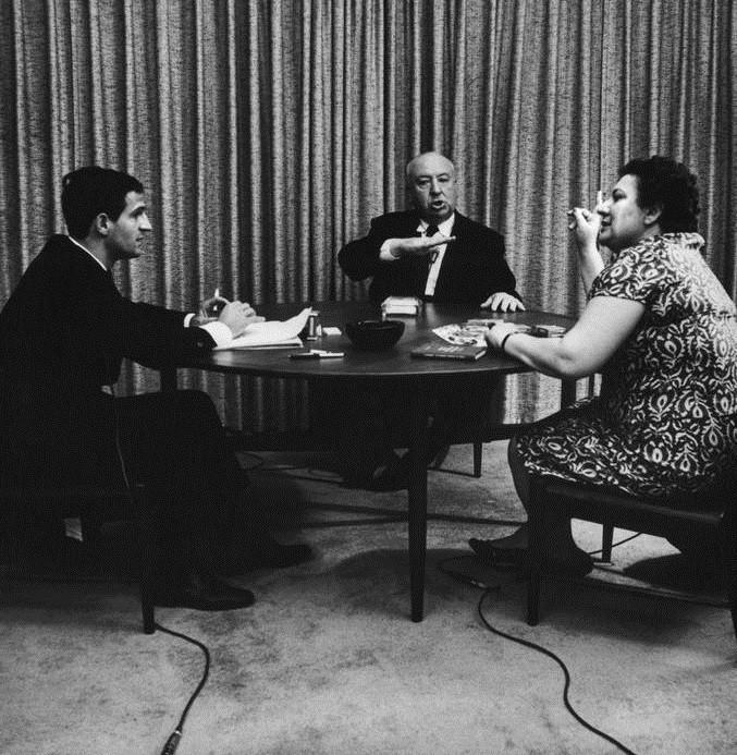 François Truffaut, Alfred Hitchcock and interpreter Helen Scott, 1962