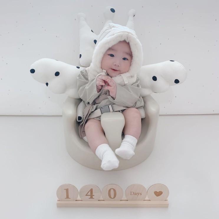 [성장사진] 생후 140일, 첫 설날 한복입은 아기