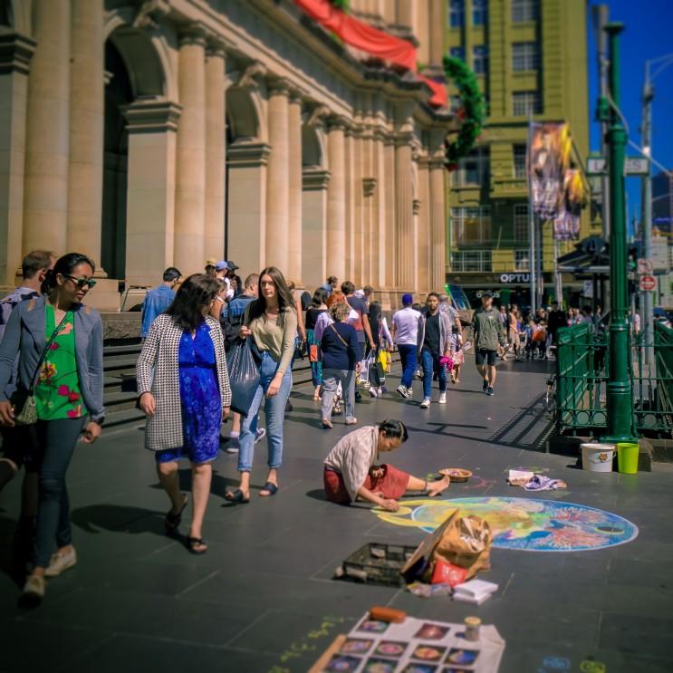 스트리트아트/거리예술)) 거리예술의 도시 멜버른에서 첫 그림 버스킹