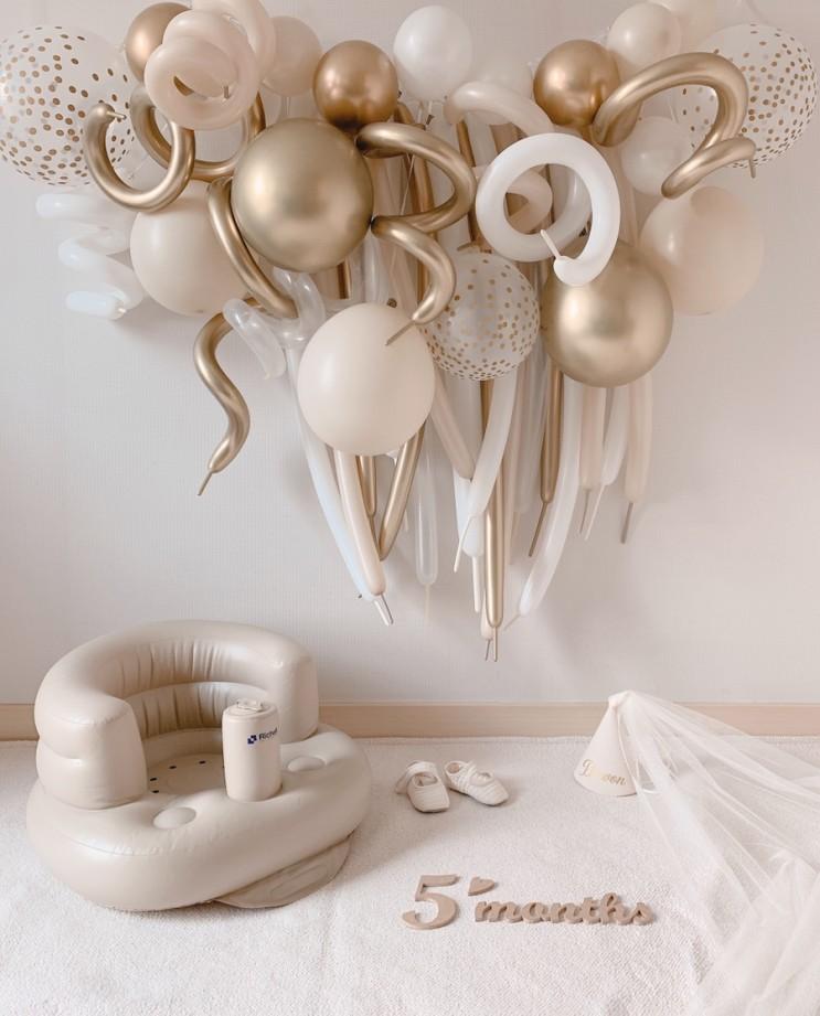 [성장사진] 생후 5개월 시작, 150일 아기 셀프촬영 풍선 가랜드로 집에서도 화려하게!