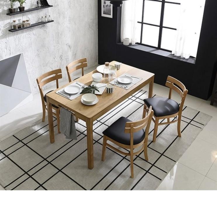 [특가제품] 삼익가구 렉시 1400 4인용 내츄럴 원목 식탁세트 의자4 199,000 원♪♩ 49% 할인~