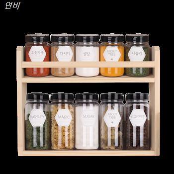 [할인상품] 어바웃트리 2단 양념통 감성 라벨 원목 선반 세트 플라스틱마개 조미료마개  36,800 원♩♪ 34% 할인✌︎