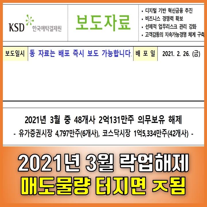 코스피, 코스닥 3월 의무보유 락업해제 물량 - 하나투어, 에코프로비엠, 카카오게임즈 등 48개사 2억만주 매도?!