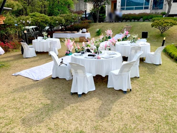 [행사렌탈] 양평 펜션 야외결혼식 테이블 대여
