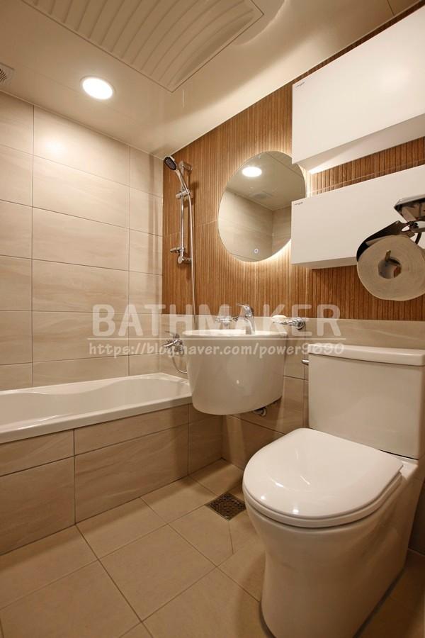 우드욕실 우드타일로 시공한 산들마을 현대아파트 인테리어 , led욕실 , led조명