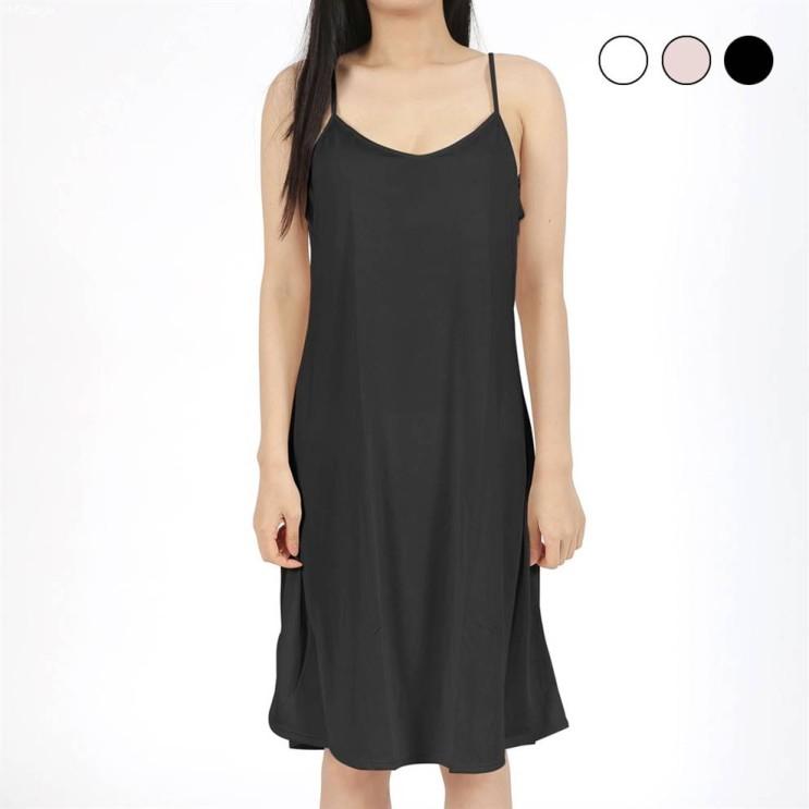 [할인제품] 마켓콩 여성 인견 끈조절 롱 슬립 이너 원피스 L~2XL 검정 살색 흰색 홈웨어 잠옷 속치마 13,350 원♪♩ ✌︎