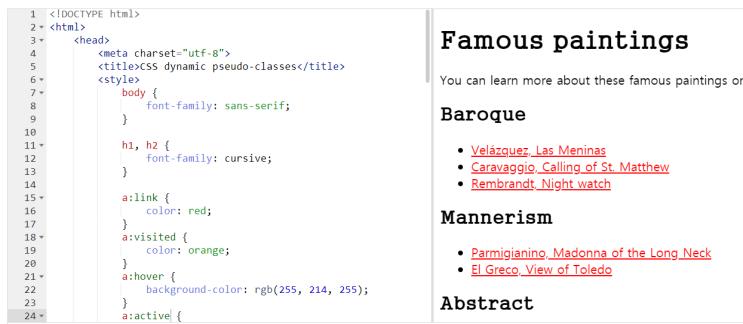 CSS 동적 가상 클래스, Pseudo class