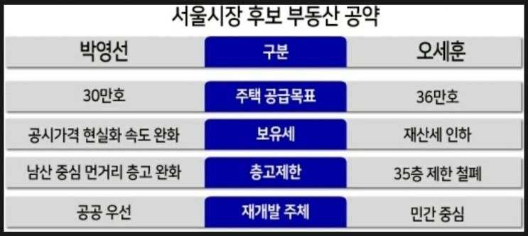 서울시장 후보들의 뜨거운 부동산 공약들!!