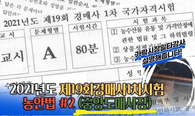 """제19회 경매사시험 기출문제풀이(농안법 #2)""""중앙도매시장"""""""