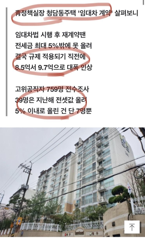 [단독] 내로남불 김상조 靑실장, 임대차법 시행 이틀전 전셋값 대폭 인상 feat. 위선자들