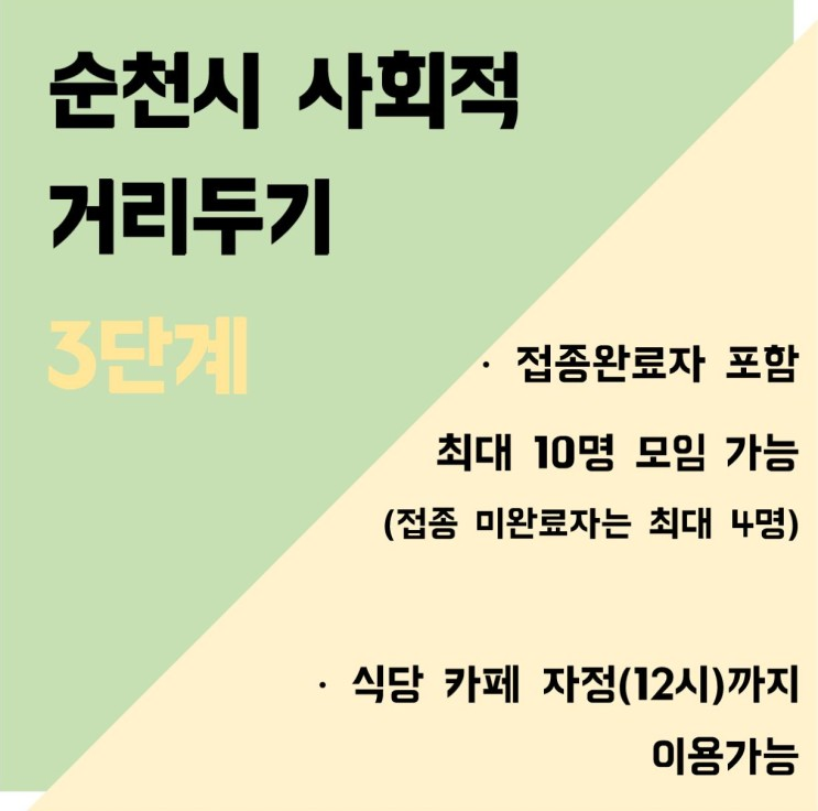 순천 사회적 거리두기 3단계 (10월 18일~10월 31일)